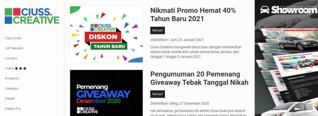 Ciuss Creative Tema WordPress Indonesia